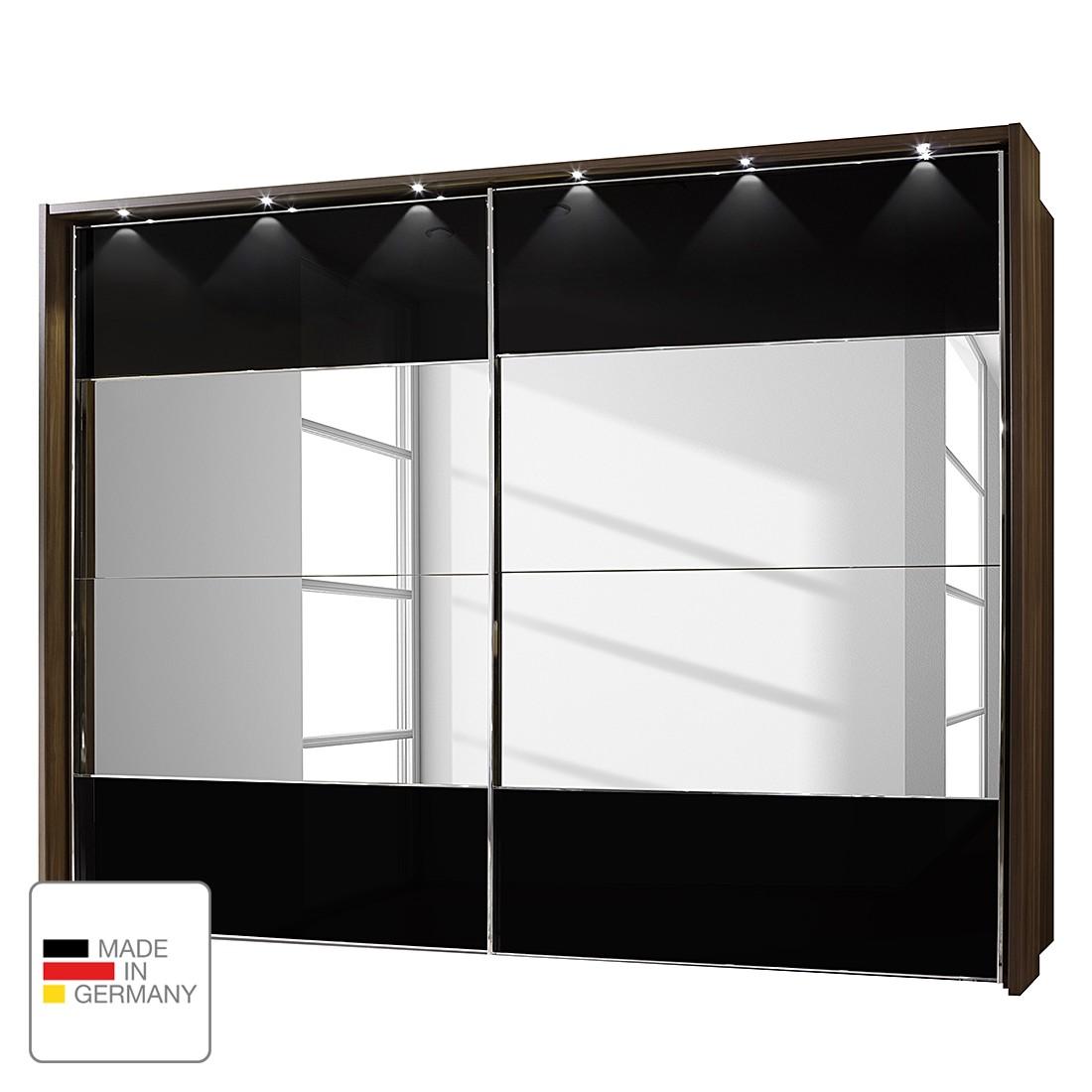EEK A+, Schwebetürenschrank Monza - Walnuss Dekor/Schwarzglas - LED-Beleuchtung - 250 cm (3-türig) - 216 cm - Mit beleuchtetem Passepartout, Althoff
