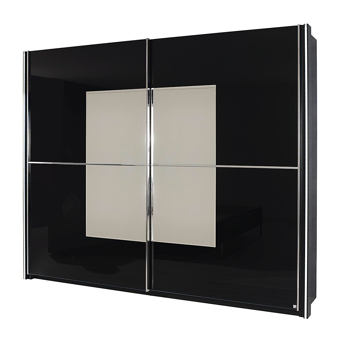 schwebet renschrank nala schwarze glasfront mit spiegelauflage schrankbreite 270 cm mit. Black Bedroom Furniture Sets. Home Design Ideas