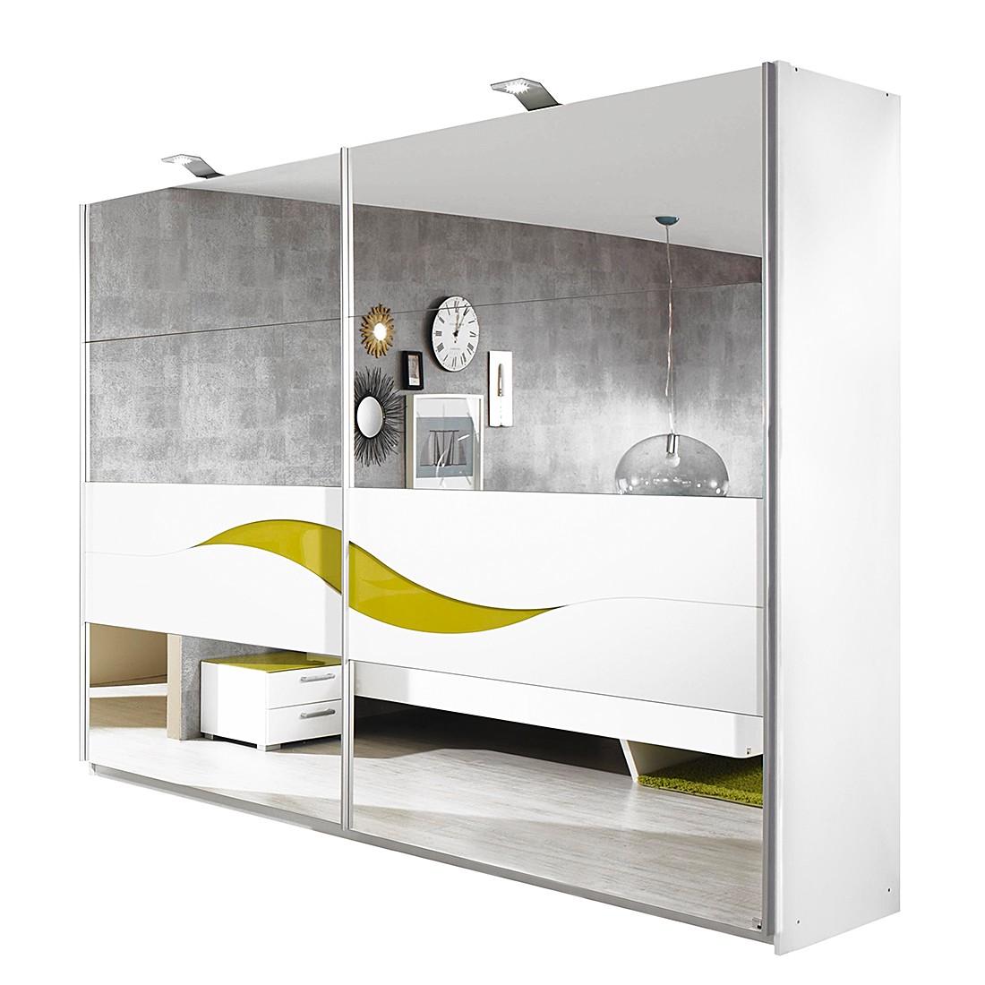 Schwebetürenschrank Onella - Spiegel/Alpinweiß mit Glasabsetzung Limette (Schrankbreite: 181 cm)