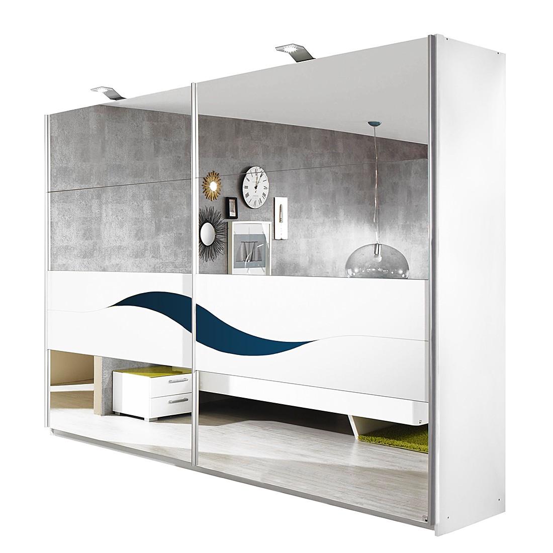 Schwebetürenschrank Onella - Spiegel/Alpinweiß mit Glasabsetzung Petrol (Schrankbreite: 181 cm)
