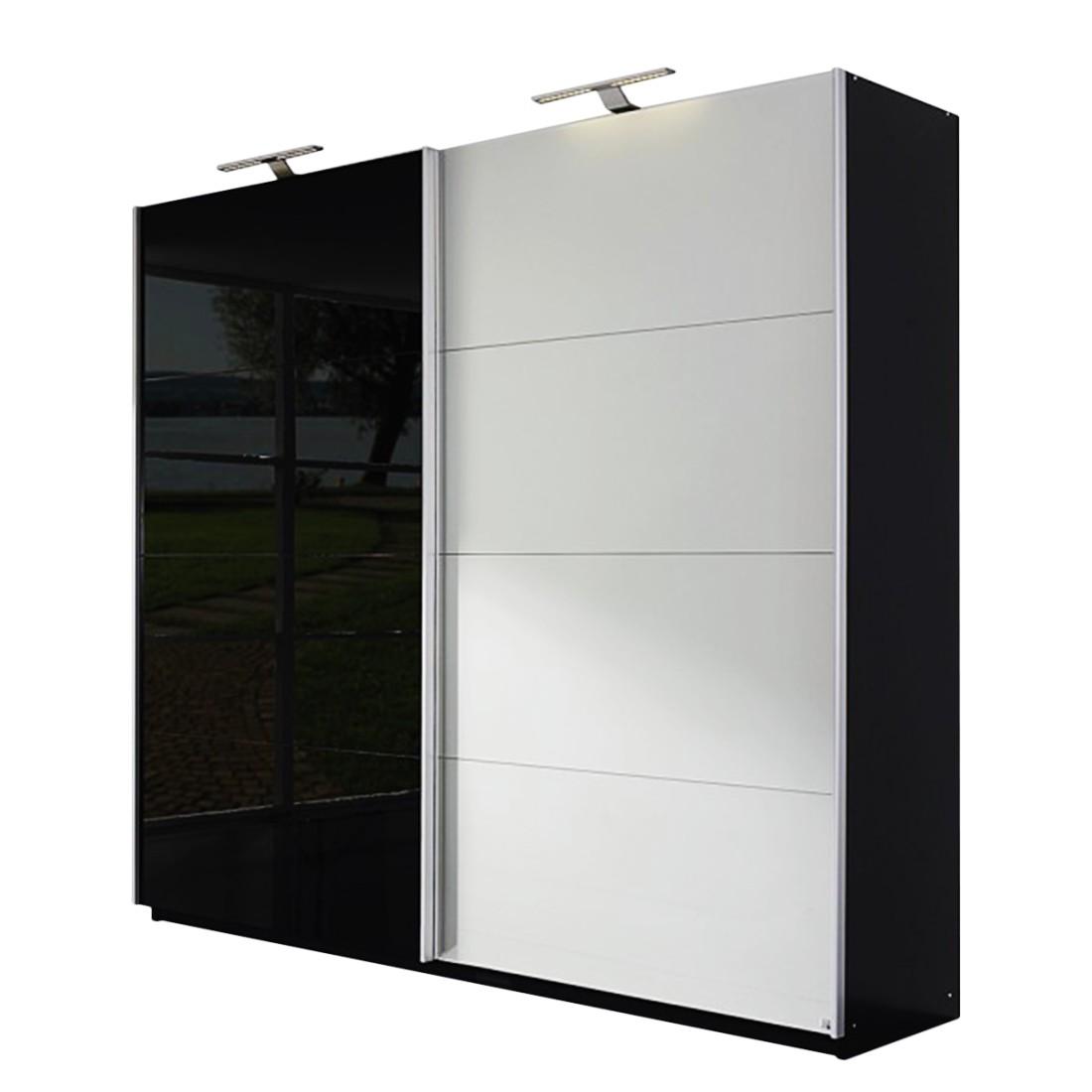 Schwebetürenschrank Beluga-Plus - Schwarz/Hochglanz Schwarz - Glas matt Silber - 360 cm (3-türig) - 223 cm, Rauch Select