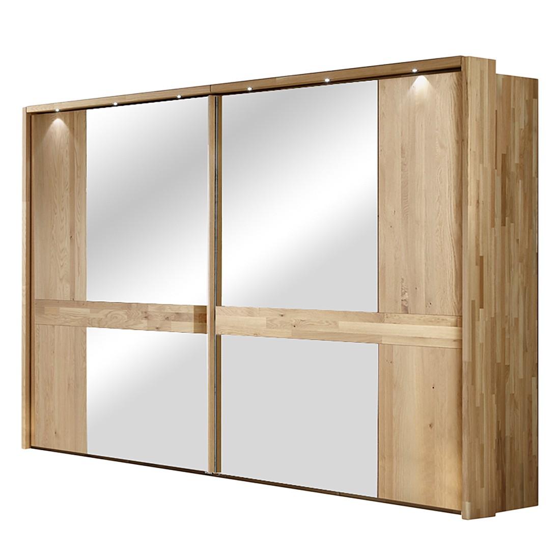 Schwebetürenschrank Operra – Eiche Massivholz – Mit Spiegel (Ausführung: 300 cm – mit Passepartoutrahmen & Beleuchtung)
