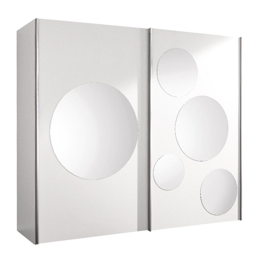 schwebet renschrank poly wei mit 5 rundspiegeln. Black Bedroom Furniture Sets. Home Design Ideas