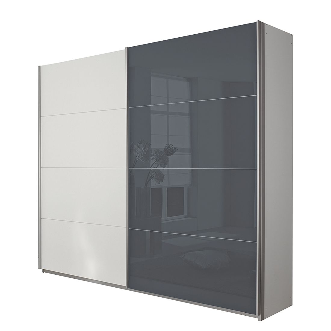 schwebet renschrank quadra alpinwei grau schrankbreite 136 cm. Black Bedroom Furniture Sets. Home Design Ideas