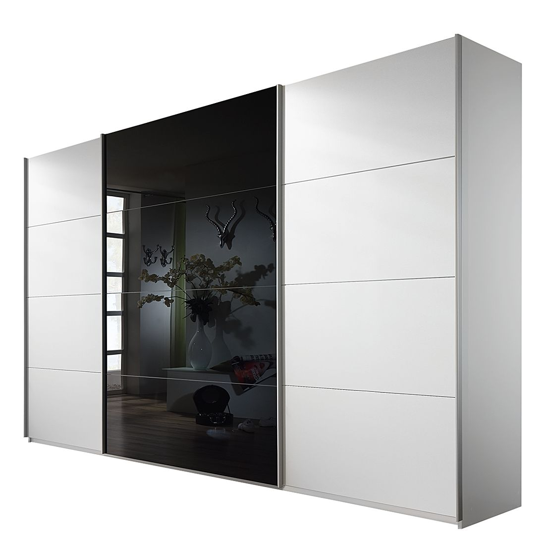 schwebet renschrank quadra alpinwei schwarz schrankbreite 136 cm 2 t rig. Black Bedroom Furniture Sets. Home Design Ideas