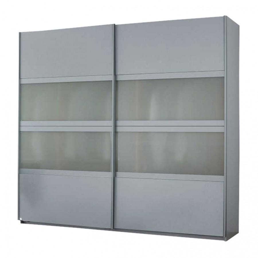 Schuifdeurkast Quadra I - Geborsteld Aluminium - 181cm (2-deurs) - 230cm, Rauch
