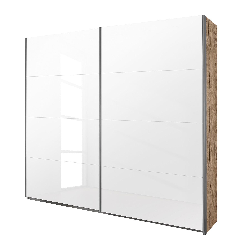 Schwebetürenschrank Quadra - Eiche Sanremo Hell Dekor / Glas Weiß ...