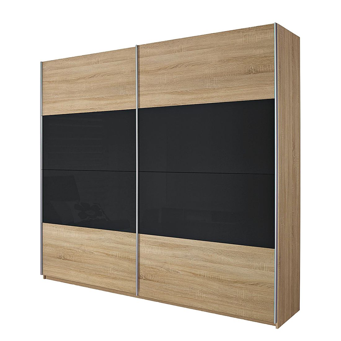 schwebet renschrank quadra eiche sonoma glas basalt schrankbreite 226 cm 2 t rig. Black Bedroom Furniture Sets. Home Design Ideas