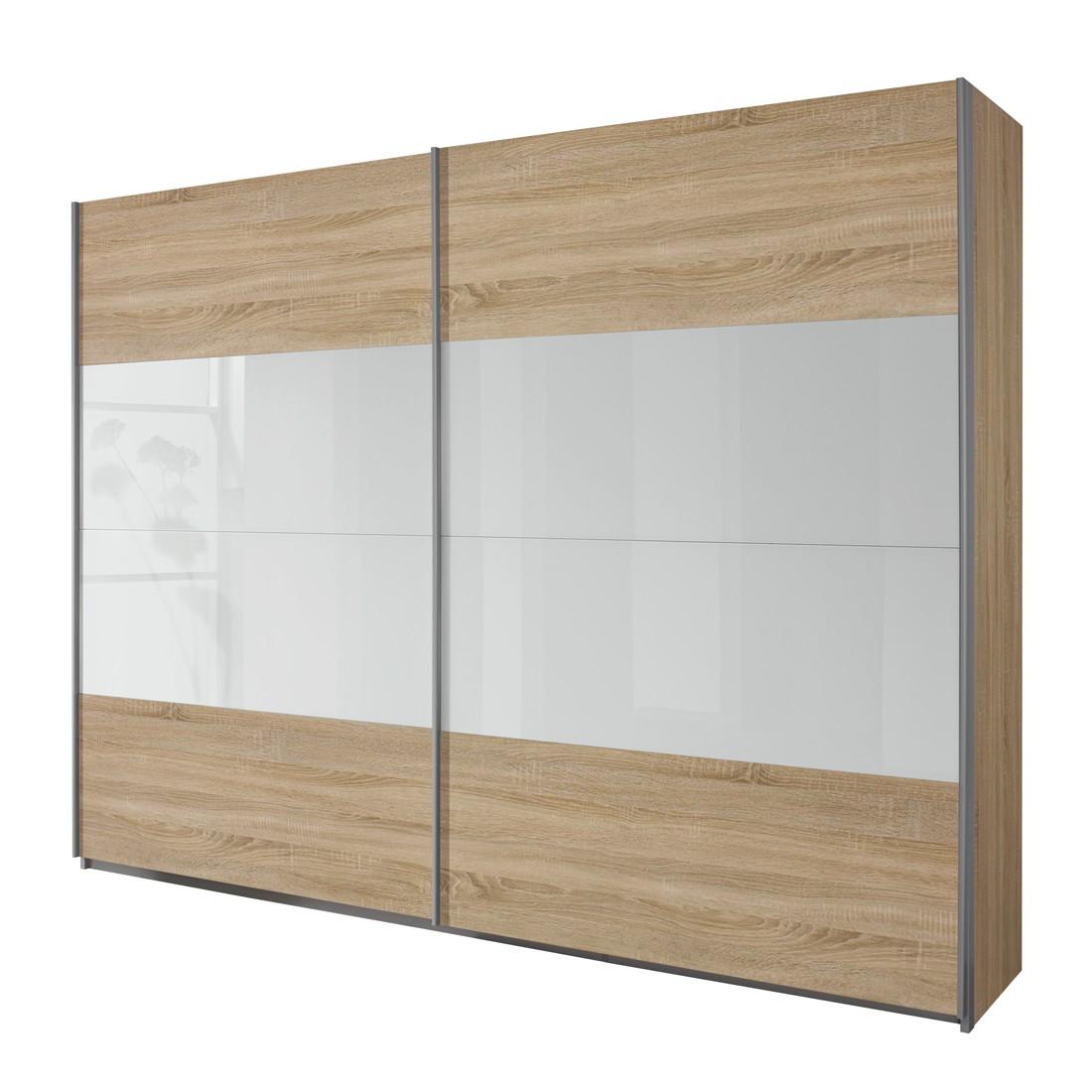Schwebetürenschrank Quadra – Eiche Sonoma/Glas Weiß – Breite x Höhe: 315 x 230 cm, Rauch Pack´s günstig online kaufen