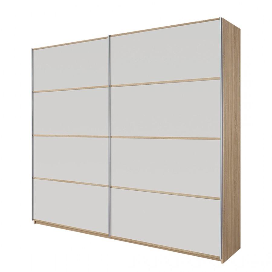 Schuifdeurkast Quadra II - Sonoma eikenhouten look / Alpenwit - 271 cm (2-deurs) - 230 cm, Rauch