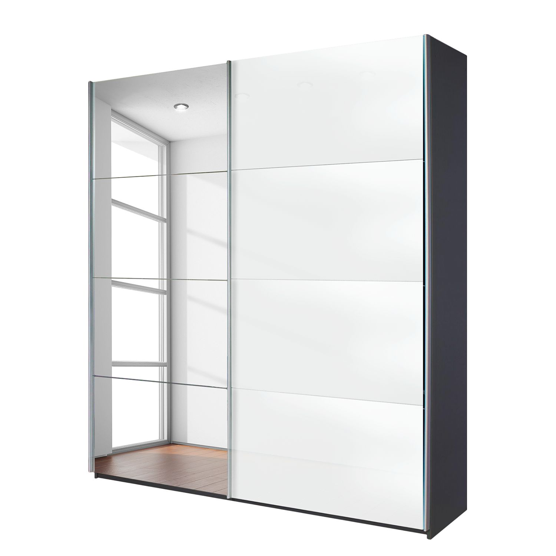 Schwebetürenschrank Quadra (Spiegel) - Grau-metallic / Glas Weiß ...