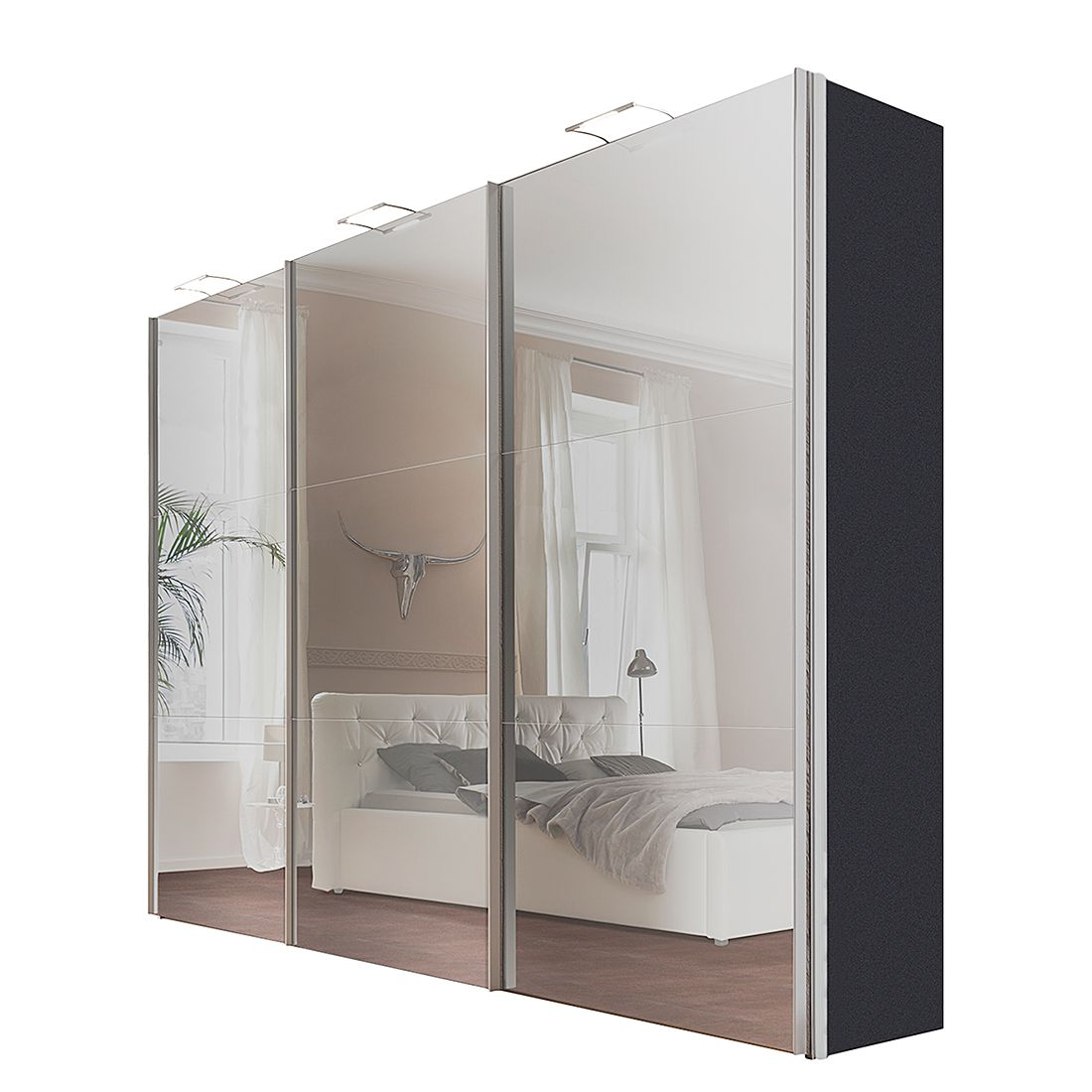 schwebet renschrank ruby graphit grauspiegel breite x h he 200 x 236 cm 2 t rig schrank. Black Bedroom Furniture Sets. Home Design Ideas