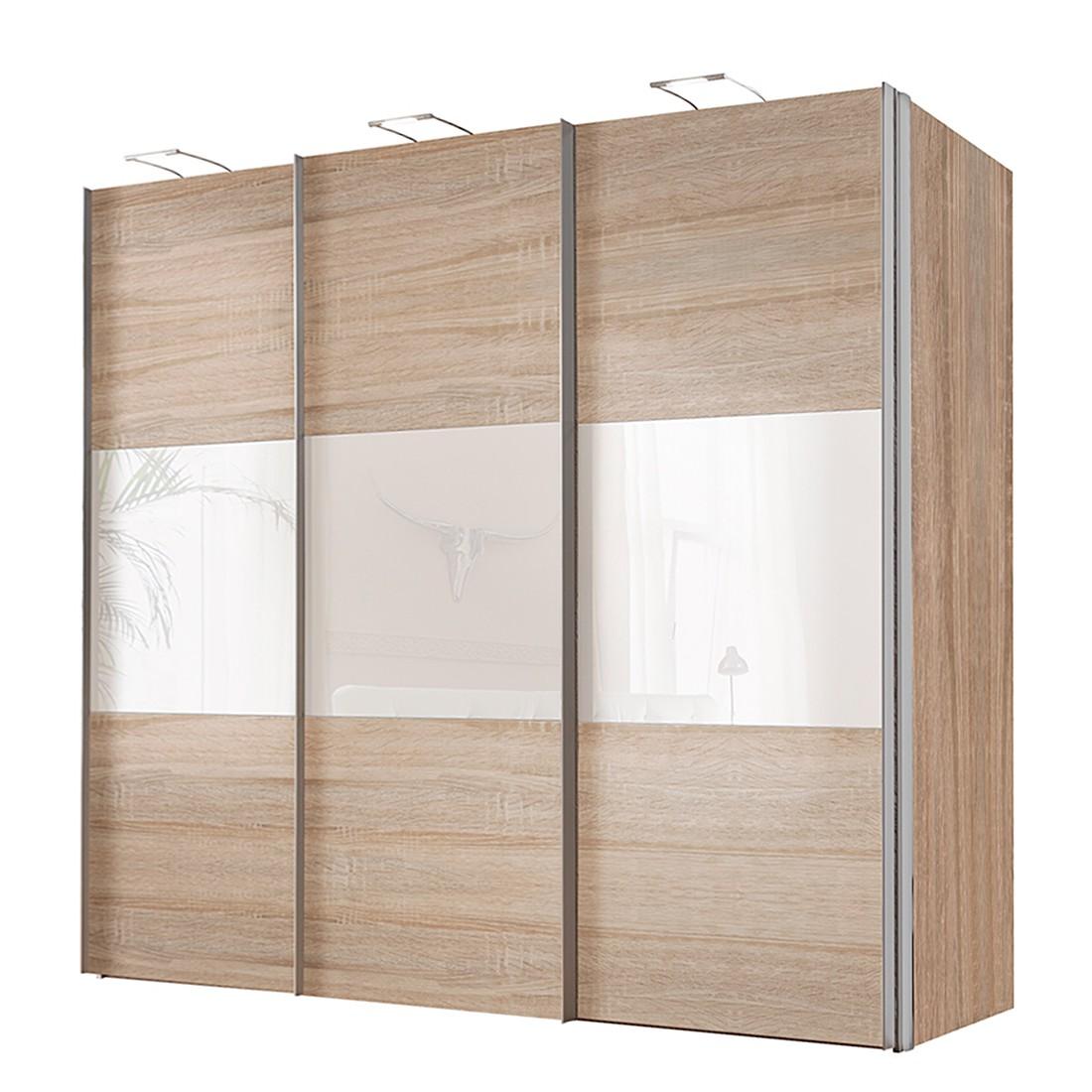 Schwebetürenschrank Ruby – Sonoma Eiche Dekor/Weißglas – BxH: 200 x 216 cm – 2-türig, Solutions jetzt kaufen