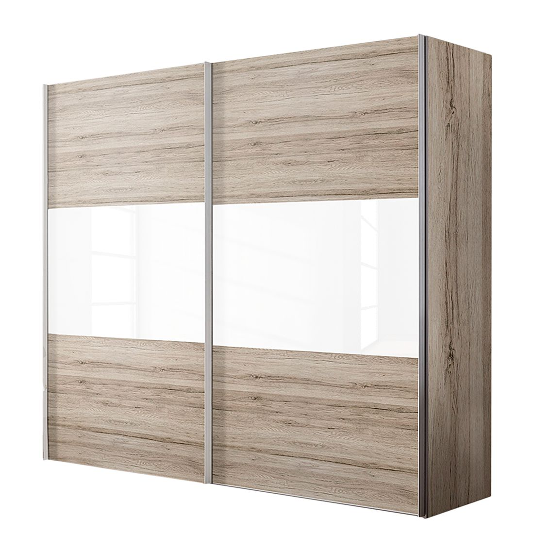 Schwebetürenschrank Ruby – Sanremo Eiche Dekor/Weißglas – BxH: 300 x 216 cm -3-türig, Solutions jetzt bestellen