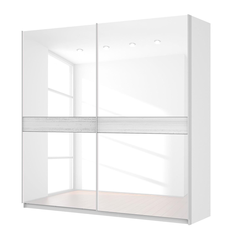 Schwebetürenschrank SKØP – Alpinweiß / Glas Weiß – 225 cm (2-türig) – 222 cm – Premium, SKØP jetzt kaufen