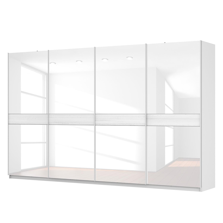 Schwebetürenschrank SKØP – Alpinweiß / Glas Weiß – 360 cm (4-türig) – 222 cm – Premium, SKØP günstig bestellen