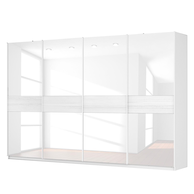 Schwebetürenschrank SKØP – Alpinweiß / Glas Weiß – 360 cm (4-türig) – 236 cm – Premium, SKØP günstig online kaufen