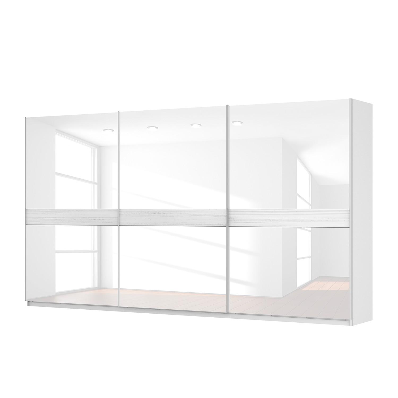 Schwebetürenschrank SKØP – Alpinweiß / Glas Weiß – 405 cm (3-türig) – 222 cm – Premium, SKØP günstig