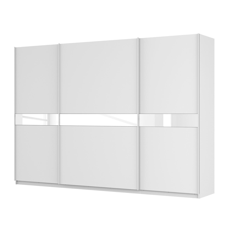 Schwebetürenschrank SKØP – Alpinweiß / Mattglas Weiß / Glas Weiß – 315 cm (3-türig) – 222 cm – Premium, SKØP bestellen