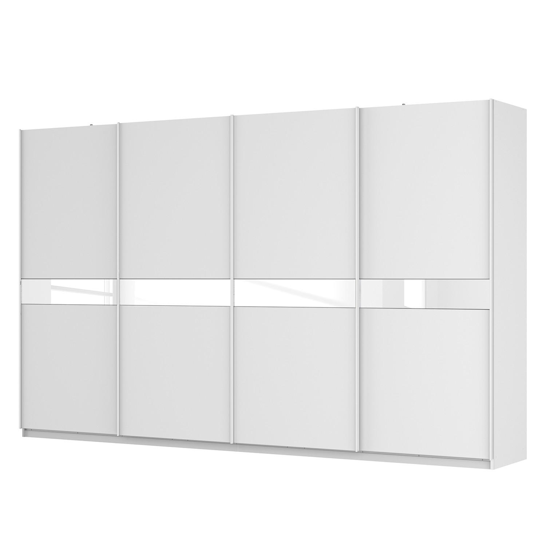 Schwebetürenschrank SKØP - Alpinweiß / Mattglas Weiß / Glas Weiß - 360 cm (4-türig) - 222 cm - Premium, SKØP