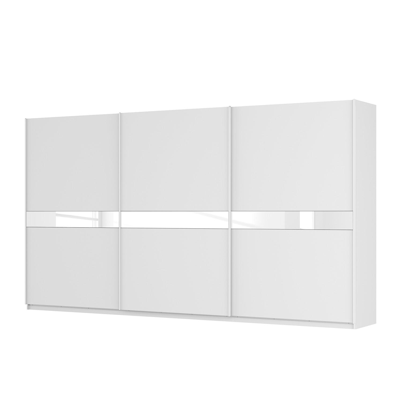 Schwebetürenschrank SKØP – Alpinweiß / Mattglas Weiß / Glas Weiß – 405 cm (3-türig) – 222 cm – Premium, SKØP jetzt bestellen