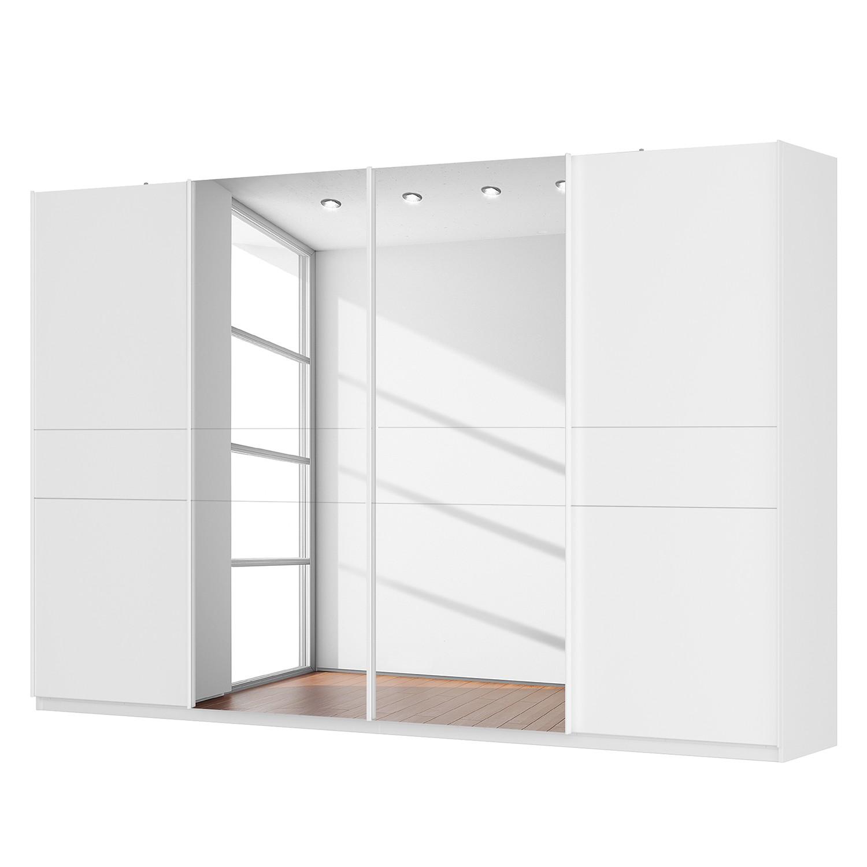 Schwebetürenschrank SKØP - Alpinweiß / Mattglas Weiß / Spiegelglas - 360 cm (4-türig) - 236 cm - Basic, SKØP
