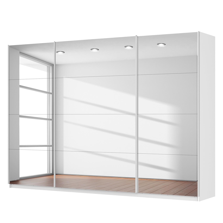 Schwebetürenschrank SKØP - Alpinweiß / Spiegelglas - 315 cm (3-türig) - 222 cm - Premium, SKØP