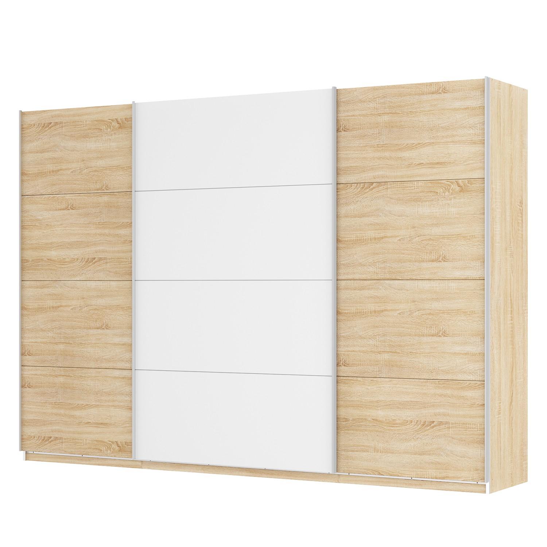 Schwebetürenschrank SKØP - Eiche Sonoma Dekor / Alpinweiß - 315 cm (3-türig) - 222 cm - Premium, SKØP