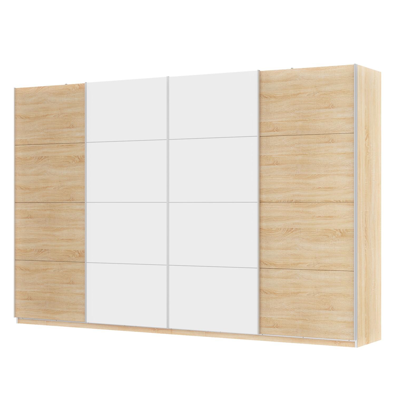 Schwebetürenschrank SKØP - Eiche Sonoma Dekor / Alpinweiß - 360 cm (4-türig) - 236 cm - Classic, SKØP