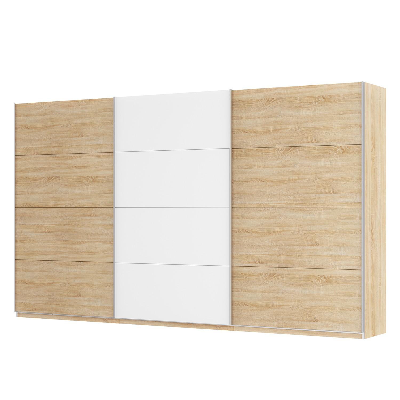 Schwebetürenschrank SKØP - Eiche Sonoma Dekor / Alpinweiß - 405 cm (3-türig) - 236 cm - Premium, SKØP