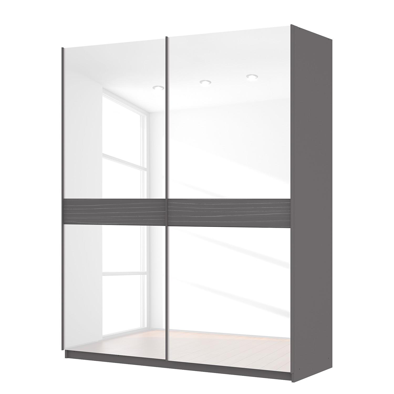 Schwebetürenschrank SKØP – Graphit / Glas Weiß – 181 cm (2-türig) – 222 cm – Basic, SKØP günstig bestellen