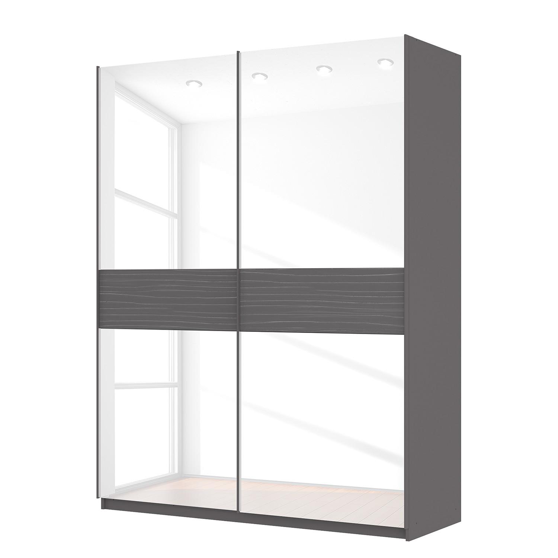 Schwebetürenschrank SKØP - Graphit / Glas Weiß - 181 cm (2-türig) - 236 cm - Basic, SKØP