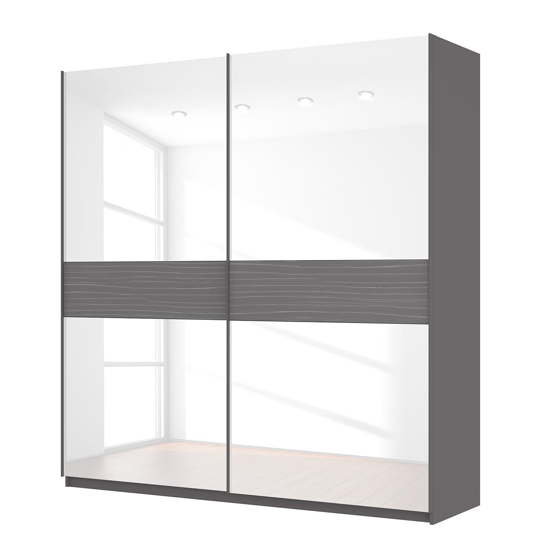 Zweefdeurkast Skøp - grafietkleurig/wit glas - 225cm (2-deurs) - 236cm - Comfort, SKØP