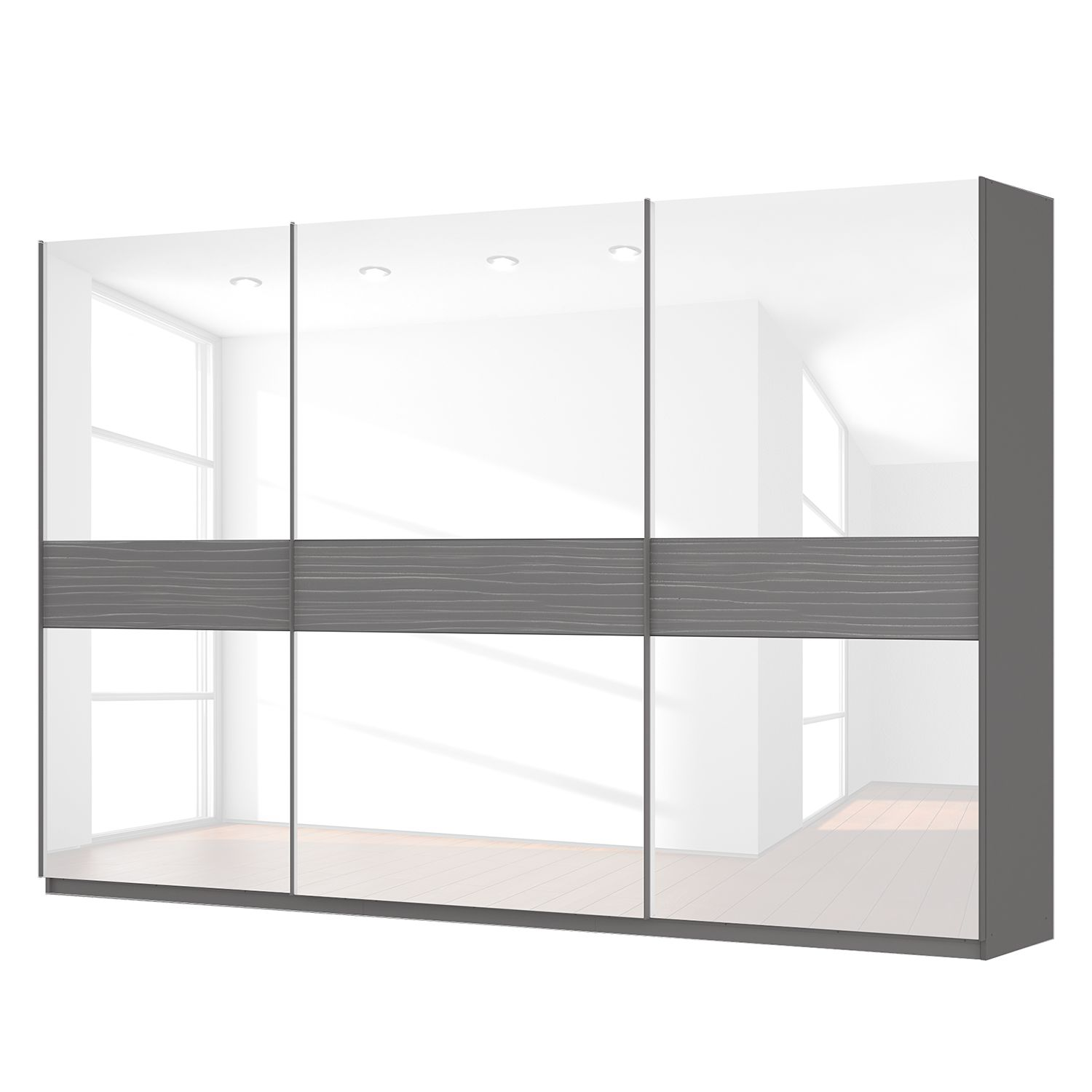 schwebet renschrank sk p graphit glas wei 360 cm 3 t rig 236 cm comfort sk p. Black Bedroom Furniture Sets. Home Design Ideas