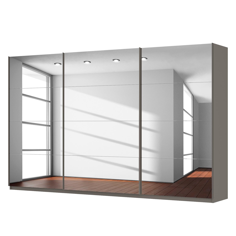 Schwebetürenschrank SKØP - Graphit / Grauspiegel - 360 cm (3-türig) - 222 cm - Classic, SKØP