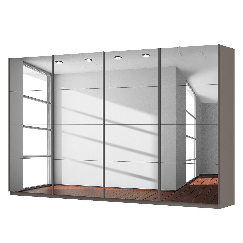 Schwebetürenschrank SKØP - Graphit / Grauspiegel - 360 cm (4-türig) - 222 cm - Classic, SKØP