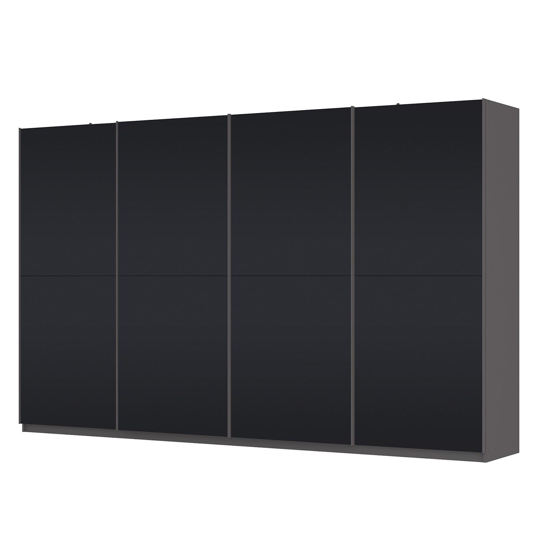 Schwebetürenschrank SKØP – Graphit / Mattglas Schwarz – 360 cm (4-türig) – 222 cm – Premium, SKØP bestellen