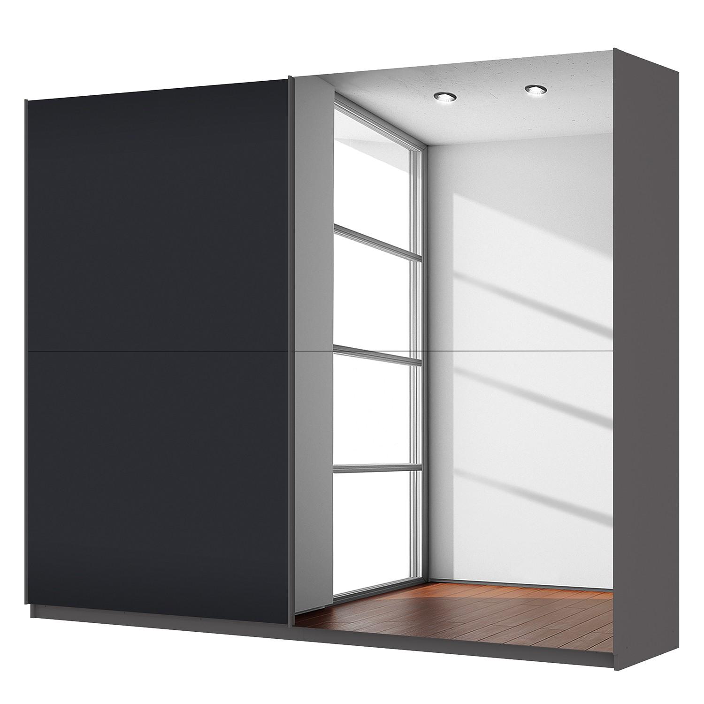Schwebetürenschrank SKØP - Graphit / Mattglas Schwarz / Grauspiegel - 270 cm (2-türig) - 222 cm - Premium, SKØP
