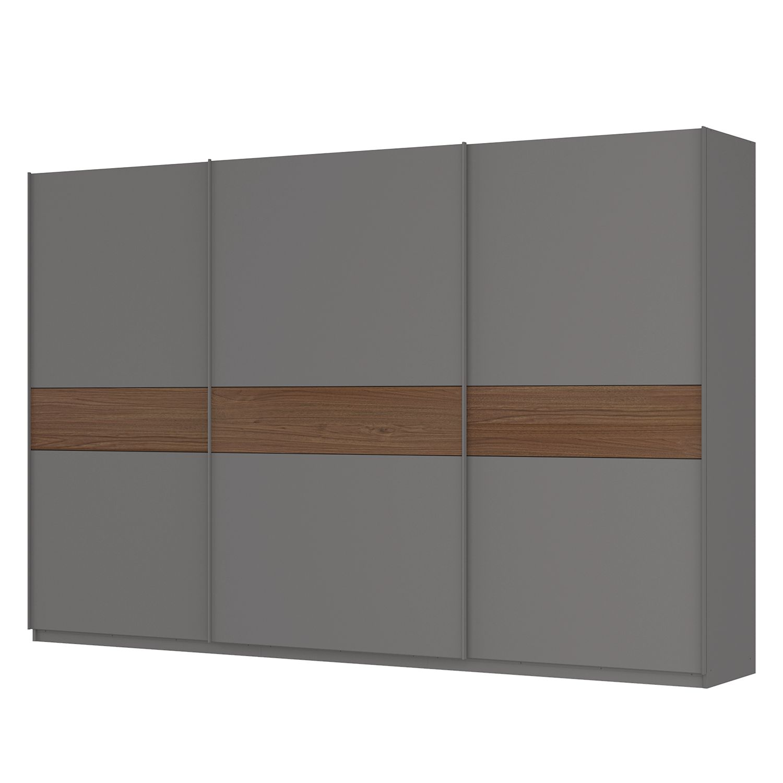 Schwebetürenschrank SKØP - Graphit / Nussbaum Royal Dekor - 360 cm (3-türig) - 236 cm - Comfort, SKØP