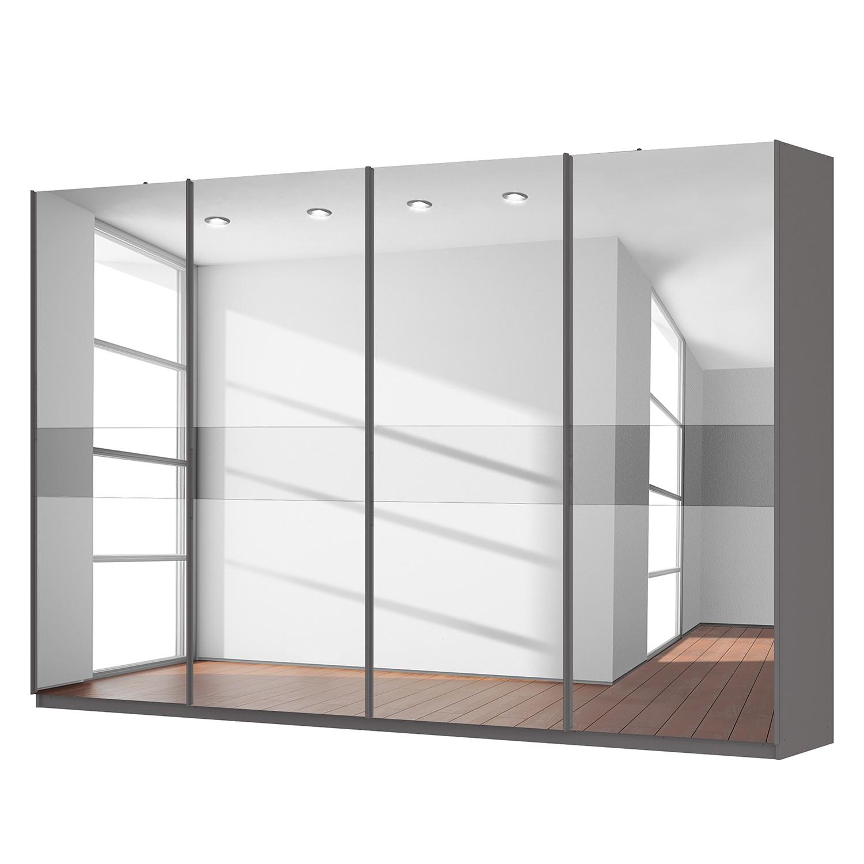 Schwebetürenschrank SKØP – Graphit / Spiegelglas / Grauspiegel – 360 cm (4-türig) – 236 cm – Basic, SKØP günstig