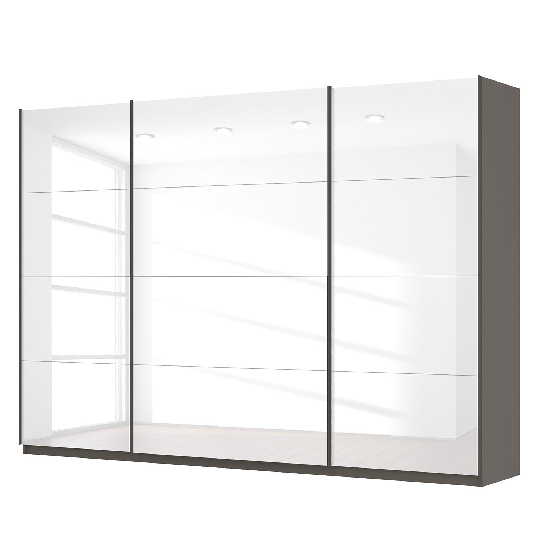 Schwebetürenschrank SKØP - Hochglanz Weiß / Graphit - 315 cm (3-türig) - 222 cm - Classic, SKØP