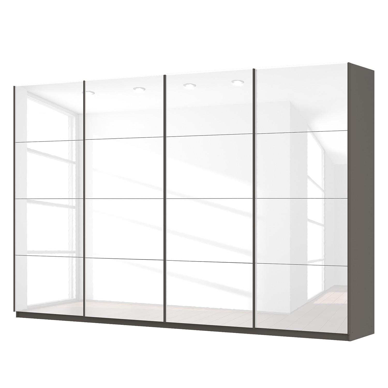 Schwebetürenschrank SKØP - Hochglanz Weiß / Graphit - 360 cm (4-türig) - 236 cm - Basic, SKØP