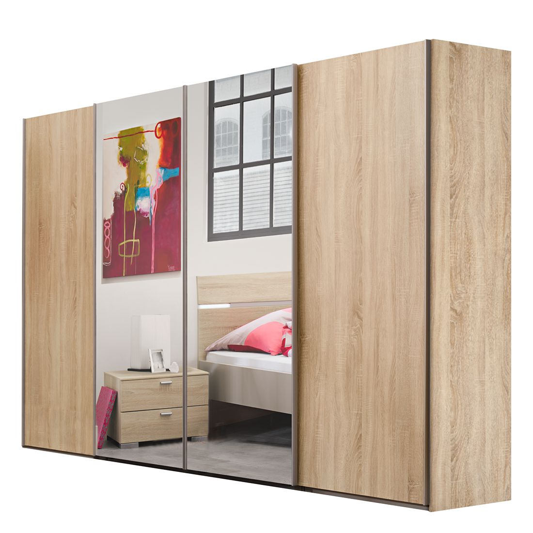 schwebet renschrank synkro i eiche dekor kristallspiegel schrankbreite 252 cm 4 t rig. Black Bedroom Furniture Sets. Home Design Ideas