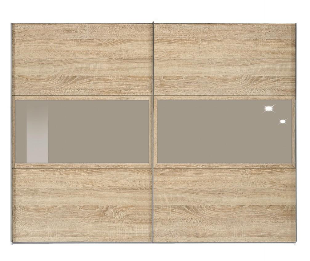 schwebet renschrank trio plus eiche dekor glas steingrau breite 202cm. Black Bedroom Furniture Sets. Home Design Ideas