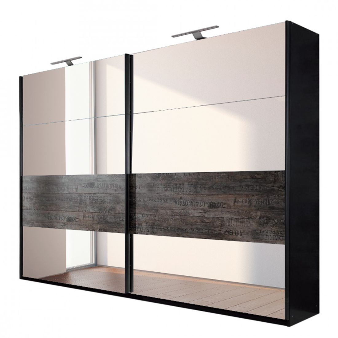 schwebet renschrank sumatra spiegelglas vintage braun schrankbreite 270 cm 2 t rig. Black Bedroom Furniture Sets. Home Design Ideas