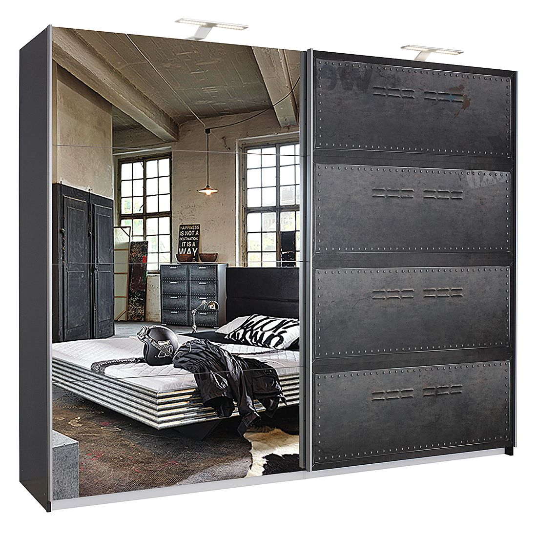 schwebet renschrank workbase industrial print optik graphit mit beleuchtung 181 cm 2. Black Bedroom Furniture Sets. Home Design Ideas