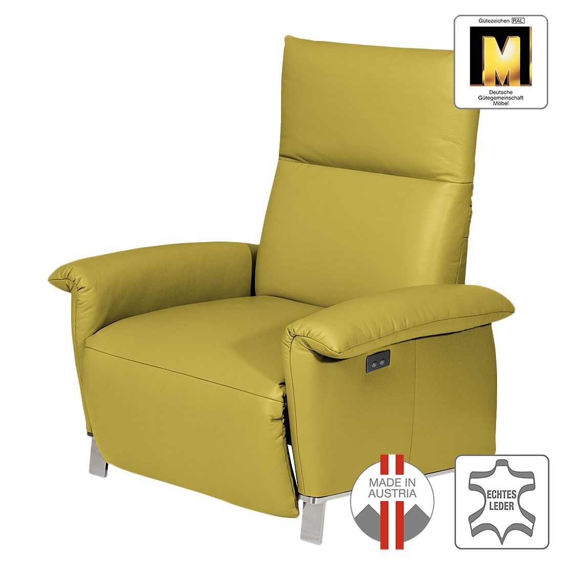 fauteuil barcelona cuir v ritable sans fonction rallonge jaune. Black Bedroom Furniture Sets. Home Design Ideas