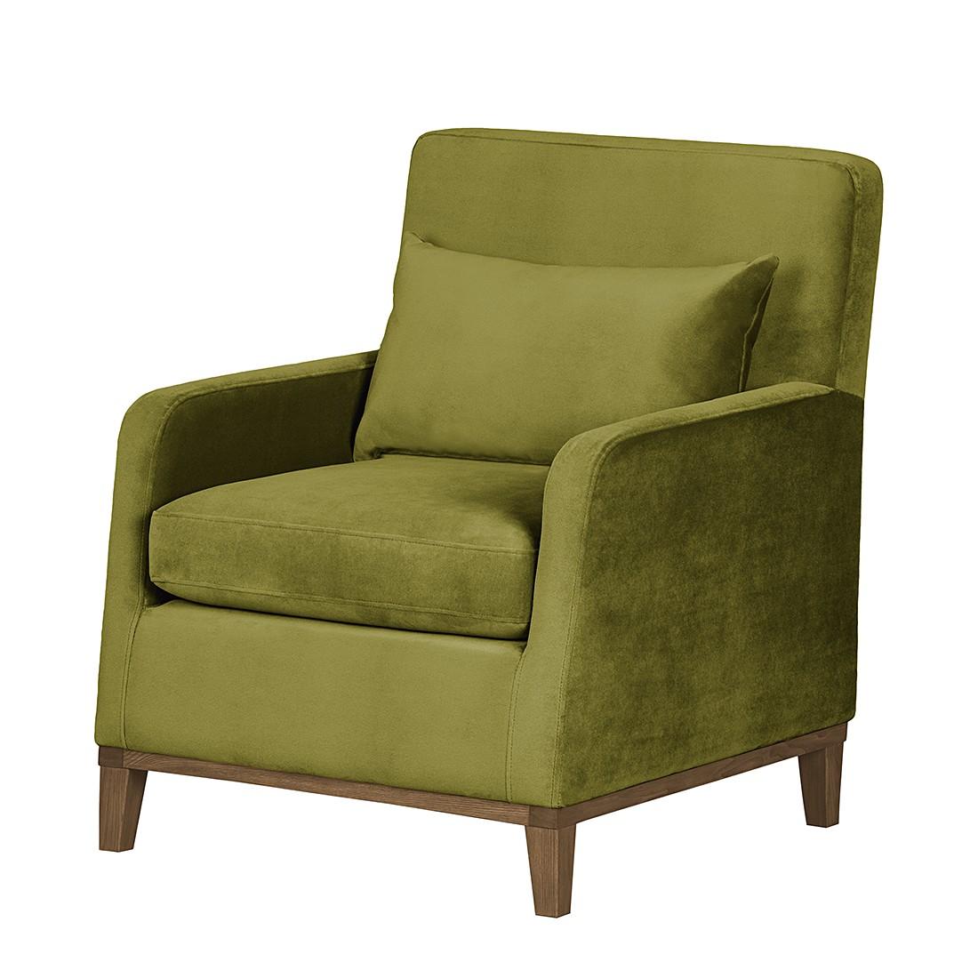 Sessel Blomma – Samtstoff Olivgrün – Gestell: Nussbaumfarbig, Mørteens online kaufen