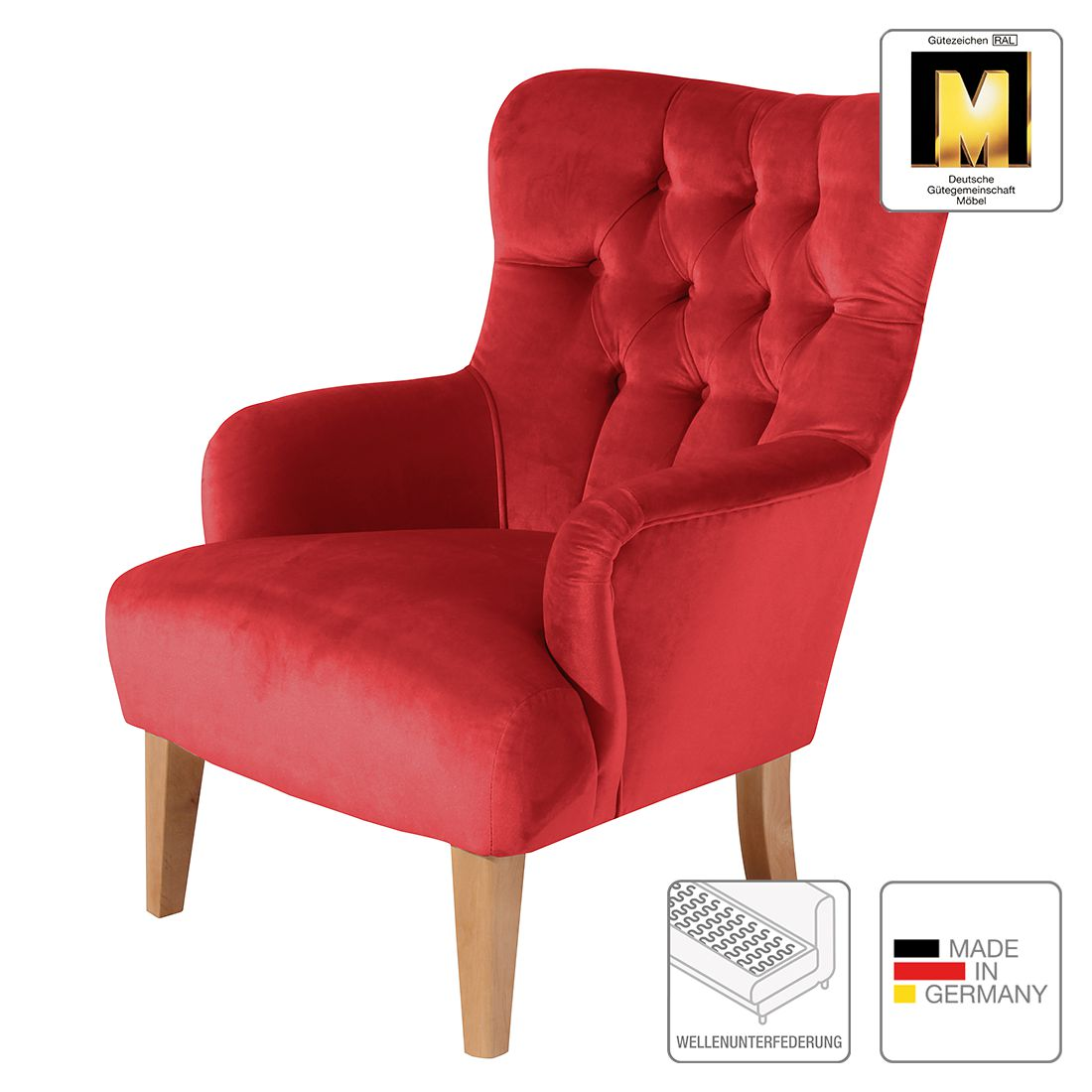 Sessel clermont samt rot max winzer m mw 03 00139 for Sessel rot samt