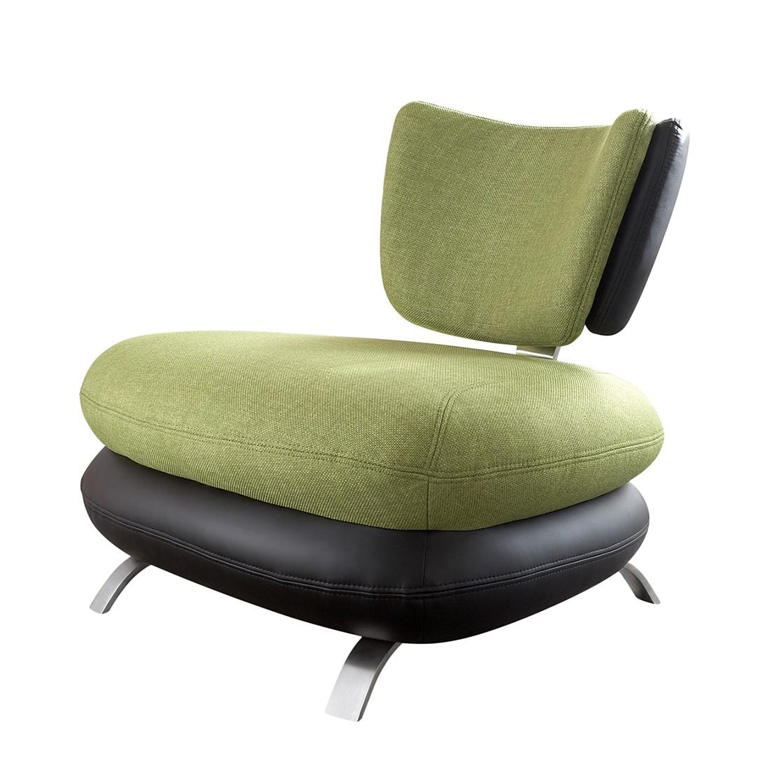 Sessel Cozy – Kunstleder Schwarz/Stoff Grün, Modoform jetzt bestellen